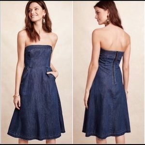 HOLDING HORSES Strapless Denim Midi Dress